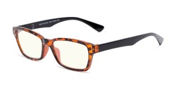 Angle of The Brody Computer Reader in Brown Tortoise/Black with Light Yellow, Women's and Men's Rectangle Reading Glasses