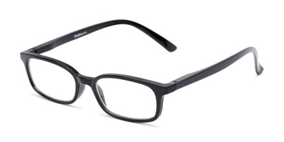 Angle of The Brookside in Black, Women's and Men's Rectangle Reading Glasses