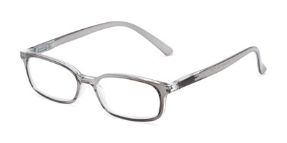 Angle of The Brookside in Grey, Women's and Men's Rectangle Reading Glasses