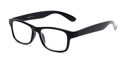 Angle of The Buchanon in Black, Women's and Men's Retro Square Reading Glasses