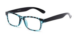 Angle of The Buchanon in Blue Tortoise, Women's and Men's Retro Square Reading Glasses