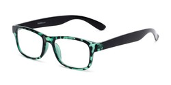 Angle of The Buchanon in Green Tortoise, Women's and Men's Retro Square Reading Glasses