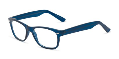 Angle of The Butch Customizable Reader in Matte Blue, Women's and Men's Retro Square Reading Glasses