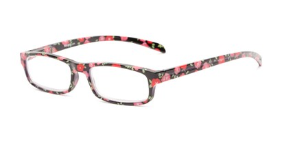 Angle of The Buttercup in Black Floral, Women's Rectangle Reading Glasses