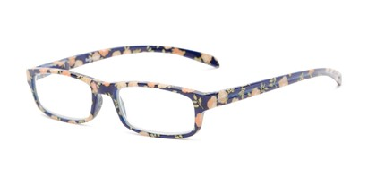 Angle of The Buttercup in Navy Blue Floral, Women's Rectangle Reading Glasses