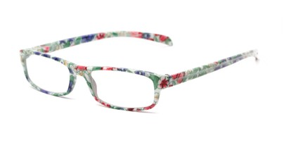 Angle of The Buttercup in Green Floral, Women's Rectangle Reading Glasses