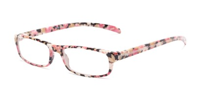 Angle of The Buttercup in Pink Floral, Women's Rectangle Reading Glasses