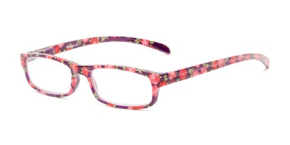 Angle of The Buttercup in Purple Floral, Women's Rectangle Reading Glasses