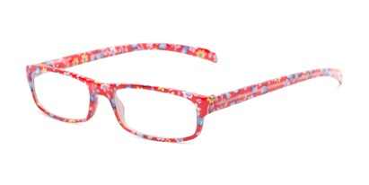 Angle of The Buttercup in Red Floral, Women's Rectangle Reading Glasses