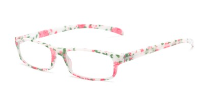 Angle of The Buttercup in White Floral, Women's Rectangle Reading Glasses