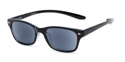 Angle of The Cabo Hanging Reading Sunglasses in Black with Smoke, Women's and Men's Retro Square Reading Sunglasses