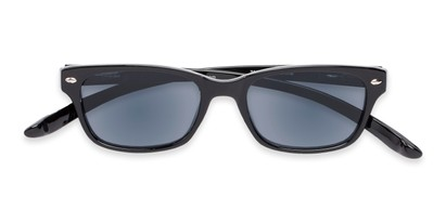 Folded of The Cabo Hanging Reading Sunglasses in Black with Smoke