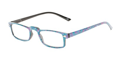 Angle of The Calico in Blue/Purple Print, Women's Rectangle Reading Glasses