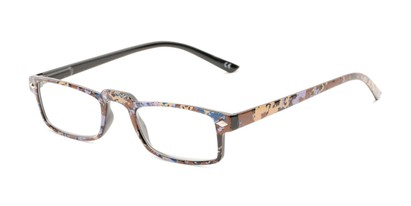 Angle of The Calico in Brown Print, Women's Rectangle Reading Glasses