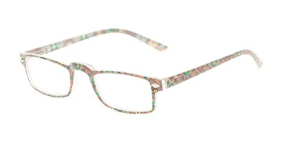 Angle of The Calico in Tan/Green Print, Women's Rectangle Reading Glasses