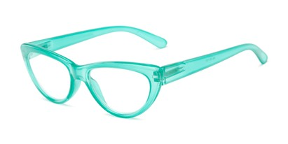 Angle of The Calliope in Green, Women's Cat Eye Reading Glasses
