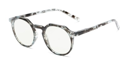 Angle of The Callum Computer Reader in Light Blue/Clear Tortoise, Women's and Men's Round Computer Glasses