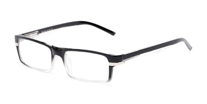 Angle of The Cambridge in Black/Clear, Women's and Men's Rectangle Reading Glasses