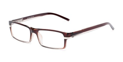 Angle of The Cambridge in Brown/Clear, Women's and Men's Rectangle Reading Glasses