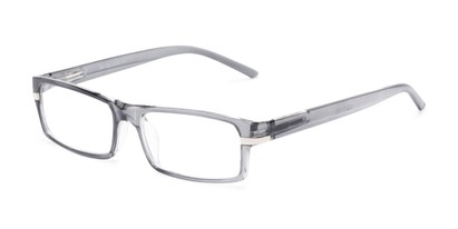 Angle of The Cambridge in Clear Grey, Women's and Men's Rectangle Reading Glasses