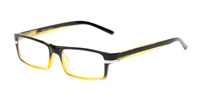 Angle of The Cambridge in Yellow/Black, Women's and Men's Rectangle Reading Glasses