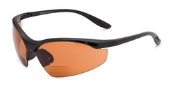 Angle of The Campbell Driving Bifocal Safety Reader in Matte Black with Amber, Women's and Men's Sport & Wrap-Around Reading Sunglasses