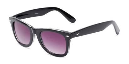 Angle of The Cancun Reading Sunglasses in Black with Smoke, Women's and Men's Retro Square Reading Sunglasses