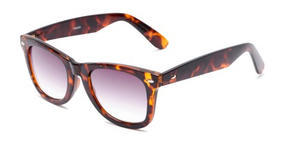 Angle of The Cancun Reading Sunglasses in Tortoise with Smoke, Women's and Men's Retro Square Reading Sunglasses