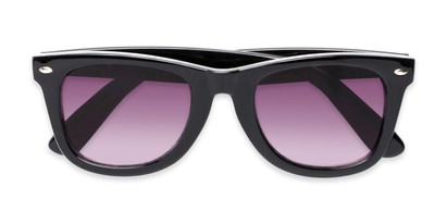 Folded of The Cancun Reading Sunglasses in Black with Smoke