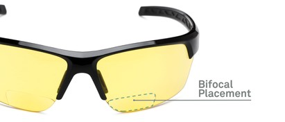 Detail of The Cannon Yellow Lens Bifocal Safety Reader in Black with Yellow Lenses