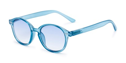 Angle of The Captiva Tinted Reader in Blue, Women's Round Reading Glasses