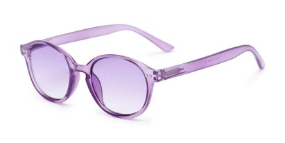 Angle of The Captiva Tinted Reader in Purple, Women's Round Reading Glasses