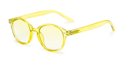 Angle of The Captiva Tinted Reader in Yellow, Women's Round Reading Glasses