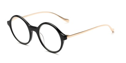 Angle of The Carlisle Signature Reader in Black/Gold, Women's and Men's Round Reading Glasses