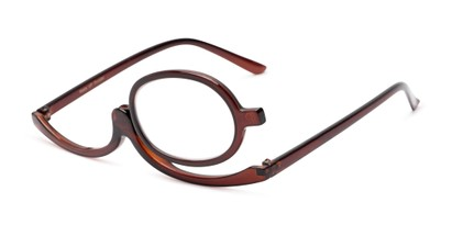 Angle of The Carrie Makeup Reader in Brown, Women's Round Reading Glasses