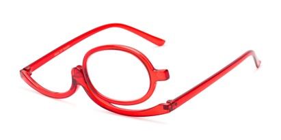 Angle of The Carrie Makeup Reader in Red, Women's Round Reading Glasses