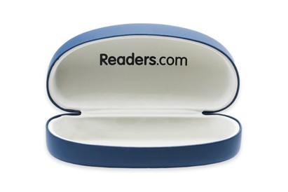 Front of Large Reading Glasses Case #1004 in Blue Case