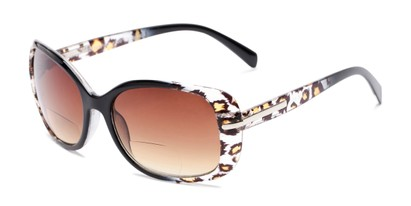 Angle of The Cassia Bifocal Reading Sunglasses in Black Leopard with Amber, Women's Square Reading Sunglasses