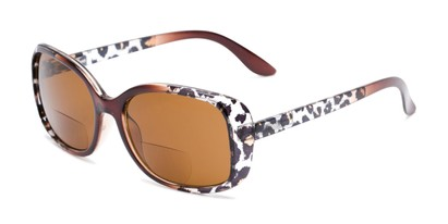 Angle of The Cassia Bifocal Reading Sunglasses in Brown Leopard with Amber, Women's Square Reading Sunglasses