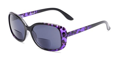 Angle of The Cassia Bifocal Reading Sunglasses in Purple Leopard with Smoke, Women's Square Reading Sunglasses
