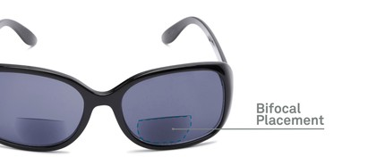 Detail of The Cassia Bifocal Reading Sunglasses in Black with Smoke