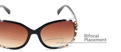 Detail of The Cassia Bifocal Reading Sunglasses in Black Leopard with Amber