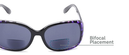 Detail of The Cassia Bifocal Reading Sunglasses in Purple Leopard with Smoke