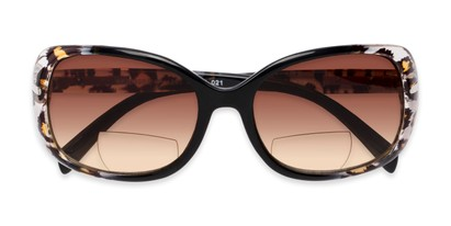 Folded of The Cassia Bifocal Reading Sunglasses in Black Leopard with Amber