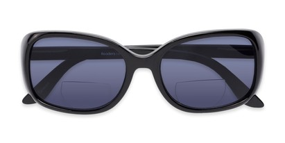 Folded of The Cassia Bifocal Reading Sunglasses in Black with Smoke