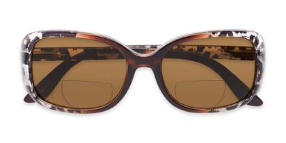 Folded of The Cassia Bifocal Reading Sunglasses in Brown Leopard with Amber