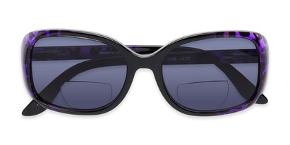 Folded of The Cassia Bifocal Reading Sunglasses in Purple Leopard with Smoke