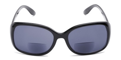 Front of The Cassia Bifocal Reading Sunglasses in Black with Smoke