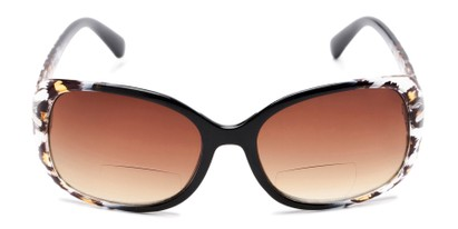 Front of The Cassia Bifocal Reading Sunglasses in Black Leopard with Amber