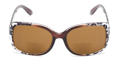 Front of The Cassia Bifocal Reading Sunglasses in Brown Leopard with Amber